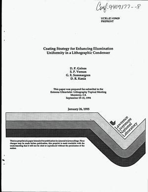 Primary view of object titled 'Coating strategy for enhancing illumination uniformity in a lithographic condenser'.