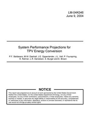 Primary view of object titled 'System Performance Projections for TPV Energy Conversion'.