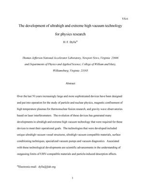 Primary view of object titled 'The development of ultrahigh and extreme high vacuum technology for physics research'.
