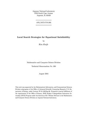 Primary view of object titled 'Local search strategies for equational satisfiability.'.