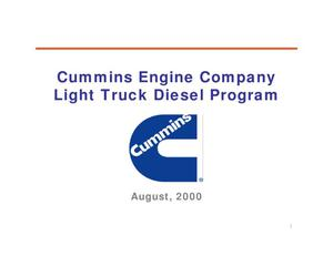 Primary view of object titled 'Cummins Engine Company Light Truck Diesel Program'.