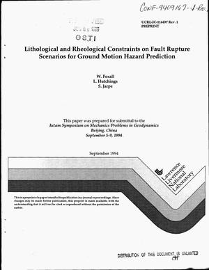 Primary view of object titled 'Lithological and rheological constraints on fault rupture scenarios for ground motion hazard prediction. Revision 1'.