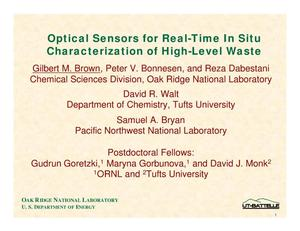 Primary view of object titled 'Optical Sensors for Real-Time In Situ Characterization of High-Level Waste'.