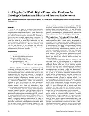Primary view of object titled 'Avoiding the Calf-Path: Digital Preservation Readiness for Growing Collections and Distributed Preservation Networks'.