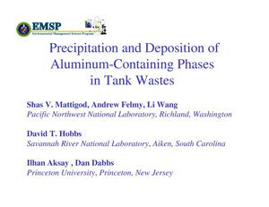 Primary view of object titled 'Precipitation and Deposition of Aluminum-Containing Phases in Tank Wastes'.