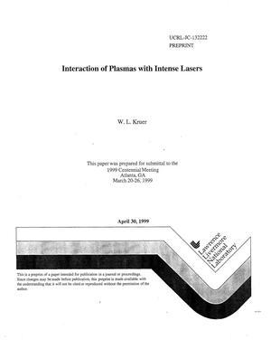 Primary view of object titled 'Interaction of plasmas with intense lasers'.
