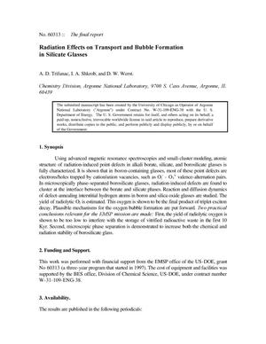 Primary view of object titled 'Radiation Effects on Transport and Bubble Formation in Silicate Glasses'.