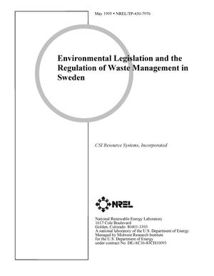Primary view of object titled 'Environmental legislation and the regulation of waste management in Sweden'.