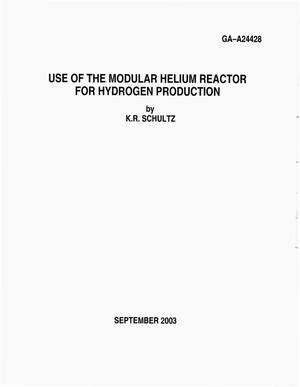 Primary view of object titled 'USE OF THE MODULAR HELIUM REACTOR FOR HYDROGEN PRODUCTION'.