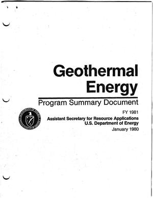 Primary view of object titled 'Geothermal Energy Program Summary Document'.