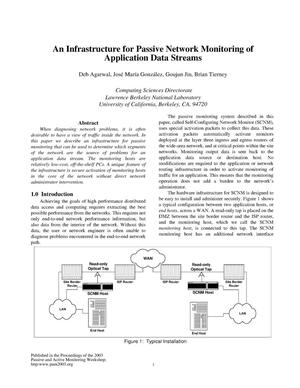 Primary view of object titled 'An infrastructure for passive network monitoring of application data streams'.