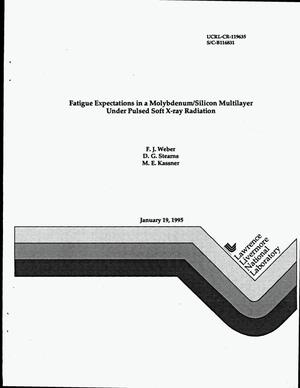 Primary view of object titled 'Fatigue expectations in a molybdenum/silicon multilayer under pulsed soft X-ray radiation'.