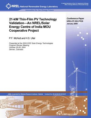 Primary view of object titled '21-kW Thin-Film PV Technology Validation -- An NREL/Solar Energy Centre of India MOU Cooperative Project'.