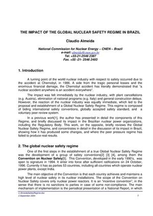 Primary view of object titled 'THE IMPACT OF THE GLOBAL NUCLEAR SAFETY REGIME IN BRAZIL'.