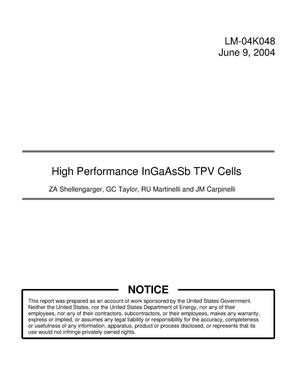 Primary view of object titled 'High Performance InGaAsSb TPV Cells'.