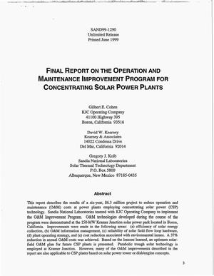 Primary view of object titled 'Final Report on the Operation and Maintenance Improvement Program for Concentrating Solar Power Plants'.