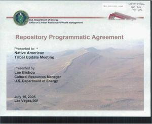 Primary view of object titled 'REPOSITORY PROGRAMMATIC AGREEMENT'.
