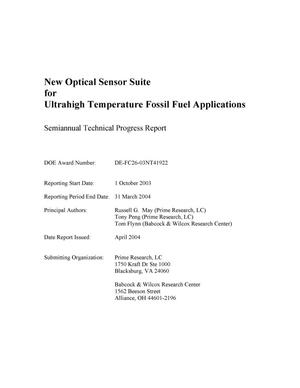 Primary view of object titled 'NEW OPTICAL SENSOR SUITE FOR ULTRAHIGH TEMPERATURE FOSSIL FUEL APPLICATIONS'.