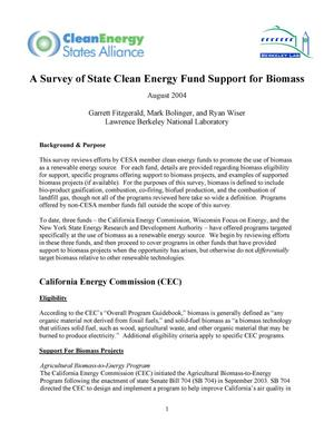 Primary view of object titled 'A survey of state clean energy fund support for biomass'.