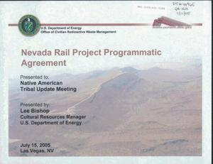 Primary view of object titled 'NEVADA RAIL PROJECT PROGRAMMATIC AGREEMENT'.
