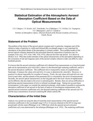 Primary view of object titled 'Statistical Estimation of the Atmospheric Aerosol Absorption Coefficient Based on the Data of Optical Measurements'.