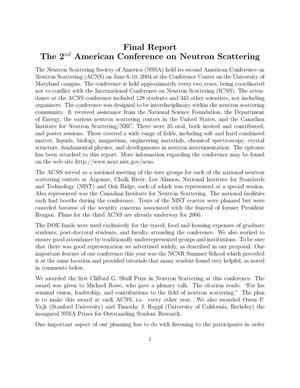 Primary view of object titled '2nd American Conference on Neutron Scattering'.