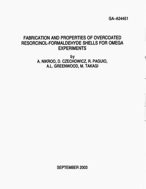 Primary view of object titled 'FABRICATION AND PROPERTIES OF OER COATED RESORCINOL-FORMALDEHYDE SHELLS FOR OMEGA EXPERIMENTS'.