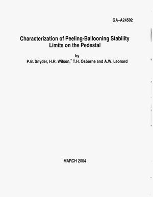 Primary view of object titled 'CHARACTERIZATION OF PEELING-BALLOONING STABILITY LIMITS ON THE PEDESTAL'.