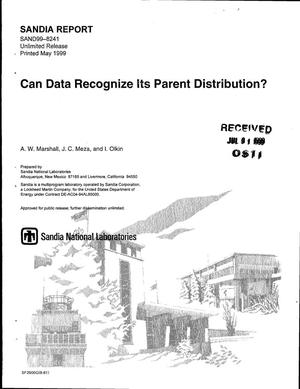 Primary view of object titled 'Can Data Recognize Its Parent Distribution?'.