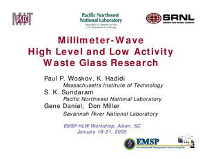 Primary view of object titled 'Millimeter-Wave High Level and Low Activity Waste Glass Research'.