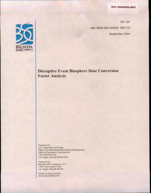 Primary view of object titled 'Disruptive Event Biosphere Dose Conversion Factor Analysis'.