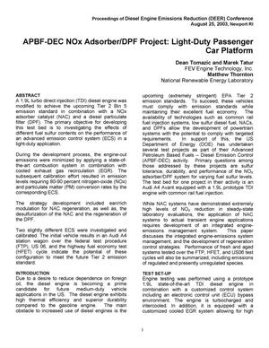 Primary view of object titled 'APBF-DEC NOx Adsorber/DPF Project: Light-Duty Passenger Car Platform'.