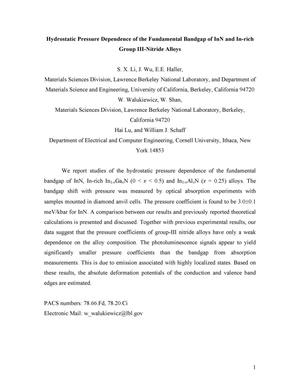 Primary view of object titled 'Hydrostatic pressure dependence of the fundamental bandgap of InN and In-rich group III-nitride alloys'.