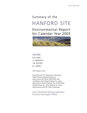 Primary view of object titled 'Summary of the Hanford Site Environmental Report for Calendar Year 2003'.