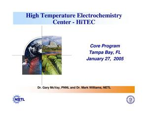 Primary view of object titled 'High Temperature Electrochemistry Center - HiTEC'.