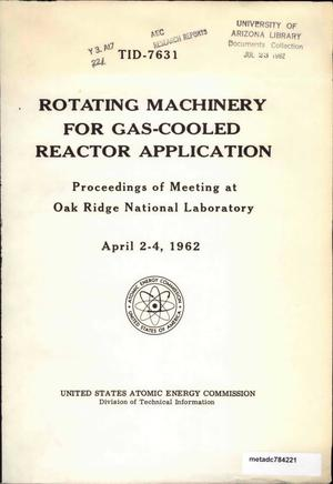 Primary view of object titled 'Rotating Machinery for Gas-Cooled Reactor Application'.