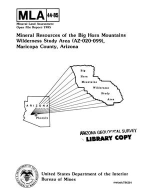 Mineral Resources of the Big Horn Mountains Wilderness Study Area (Az-020-099), Maricopa County, Arizona