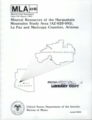 Primary view of object titled 'Mineral Resources of the Harquahala Mountains Study Area (Az-020-095), La Paz and Maricopa Counties, Arizona'.