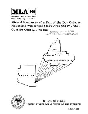 Primary view of object titled 'Mineral Resources of a Part of the Dos Cabezas Mountains Wilderness Study Area (Az-040-065), Cochise County, Arizona'.