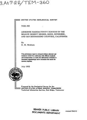 Airborne Radioactivity Surveys in the Mojave Desert Region, Kern, Riverside, and San Bernardino Counties, California