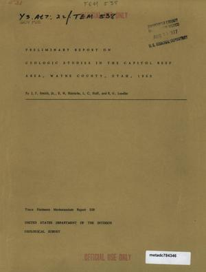Primary view of object titled 'Preliminary Report on Geologic Studies in the Capitol Reef Area, Wayne County, Utah, 1952'.