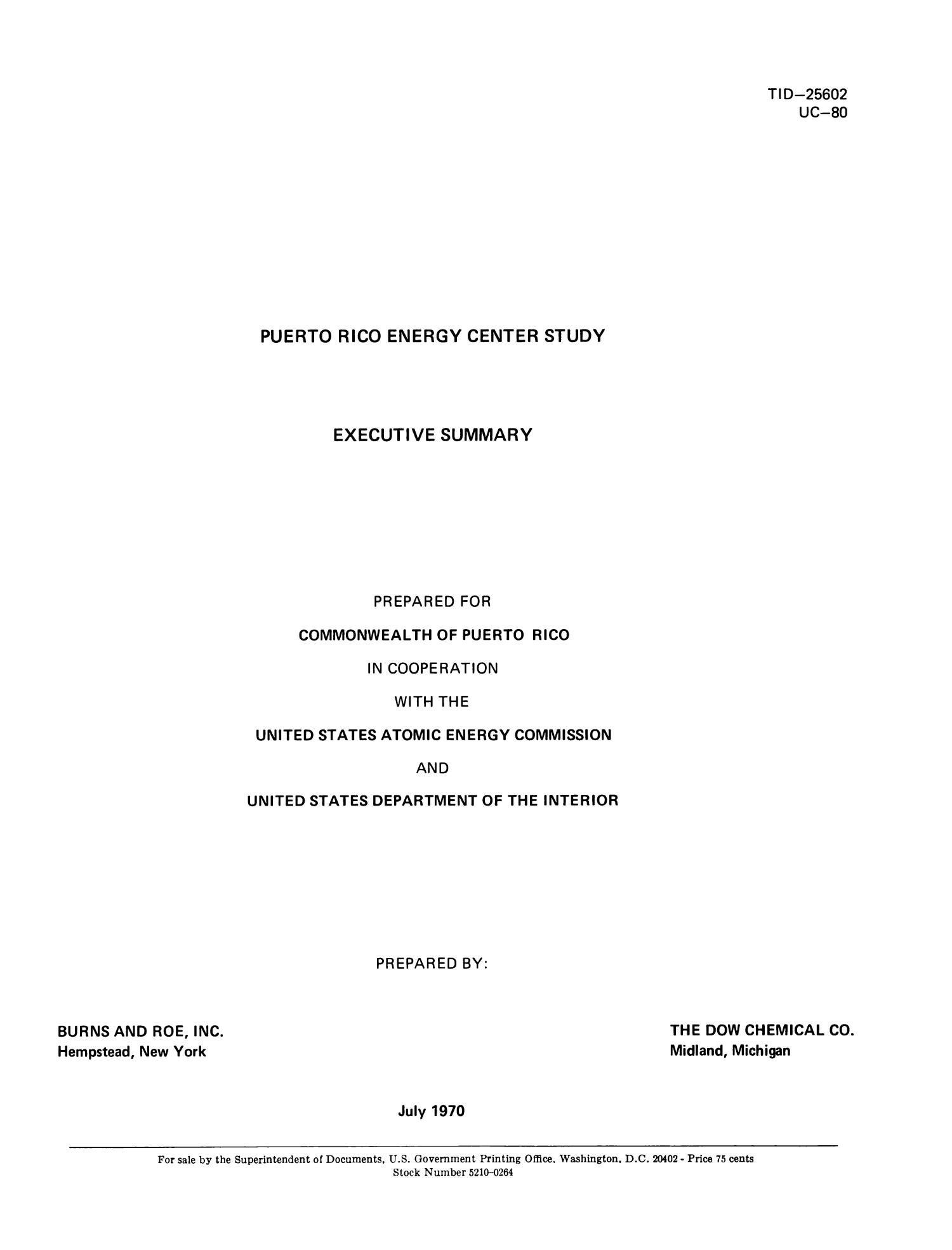 Puerto Rico Energy Center Study: Executive Study                                                                                                      Title Page