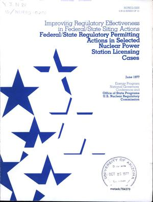 Primary view of object titled 'Federal/State Regulatory Permitting Actions in Selected Nuclear Power Station Licensing Cases'.