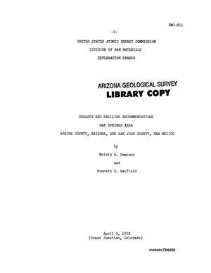 Geology and Drilling Recommendations Oak Spring Area Apache County, Arizona, and San Juan County, New Mexico