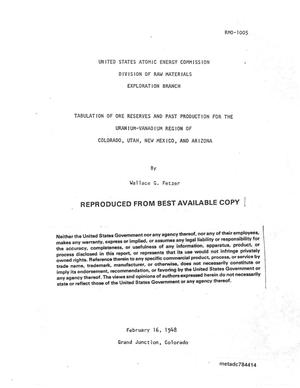 Primary view of object titled 'Tabulation or Ore Reserves and Past Production for the Uranium-Vanadium Region of Colorado, Utah, New Mexico, and Arizona'.
