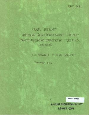 Primary view of object titled 'Final Report: Airborne Reconnaissance Project Dripping Spring, Quartzite, Gila County, Arizona'.