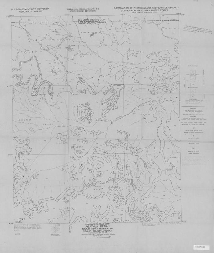 Photogeologic Map Agathla Peak 1 Quadrangle Navajo Indian