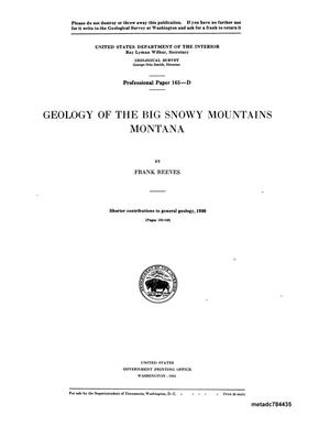 Primary view of object titled 'Geology of the Big Snowy Mountains, Montana'.