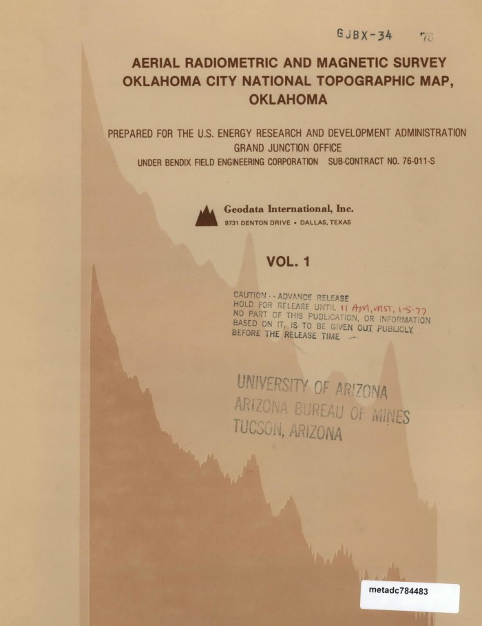 Topographic Map Oklahoma.Aerial Radiometric And Magnetic Survey Of The Oklahoma City National