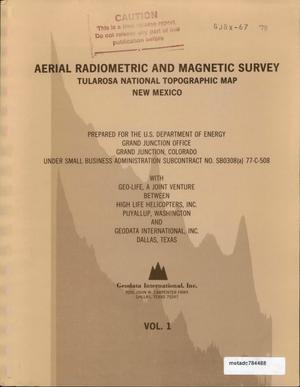 Primary view of object titled 'Aerial Radiometric and Magnetic Survey Tularosa National Topographic Map, Nex Mexico: Volume 1'.
